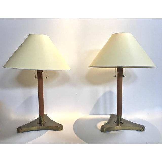 Pair of Brass and Leather Wrapped Extendable Table Lamps, Manner of Adnet - Image 3 of 9