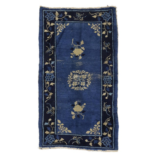 Blue Early 20th Century Antique Blue Chinese Art Deco Rug For Sale - Image 8 of 8