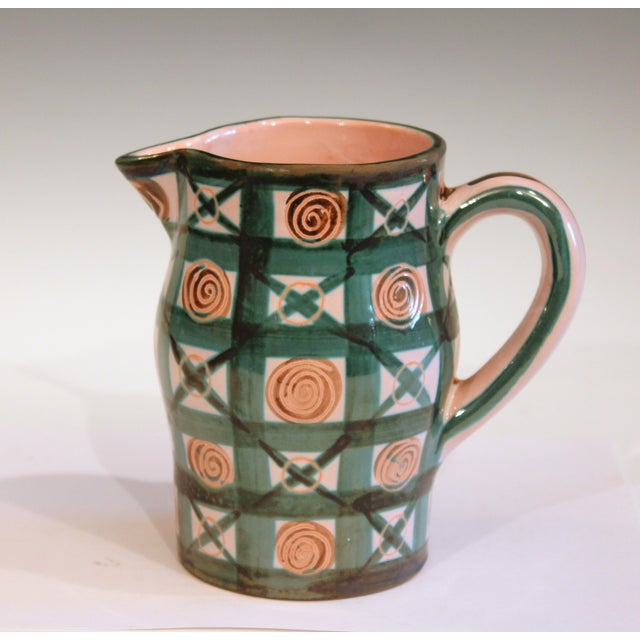 Ceramic Vintage 1960s Robert Picault French Studio Pottery Geometric Pitcher For Sale - Image 7 of 7
