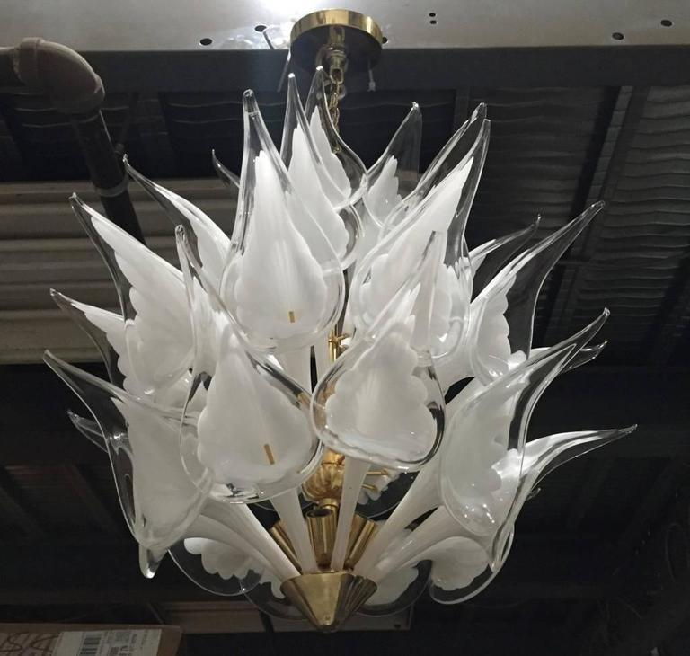 Stunning Italian Mid Century Modern Calla Lily Flower Chandelier By Camer.  This High Quality