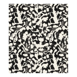 Transitional Floral Fauna Large Black Wallpaper For Sale