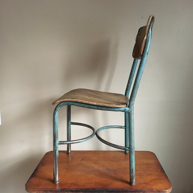 Industrial Vintage Wood & Metal School Chair For Sale - Image 5 of 9