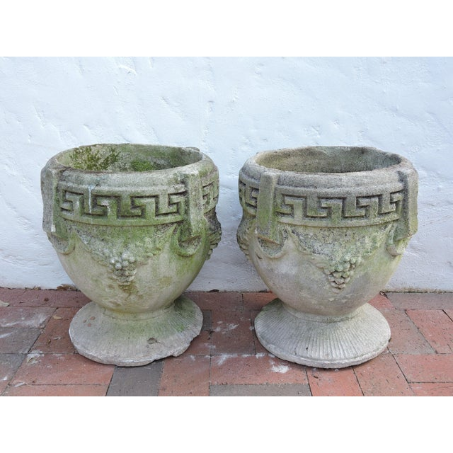 Concrete Vintage Greek Style Concrete Garden Planters, Pots or Urns - a Pair For Sale - Image 7 of 7