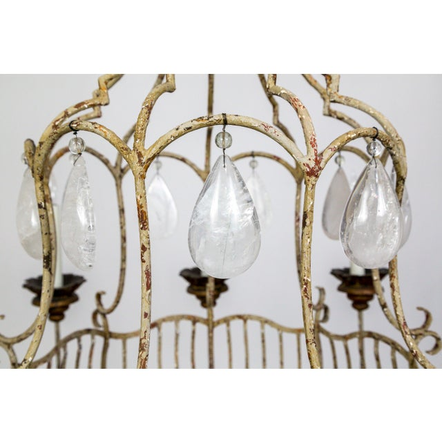 Belle Epoque Style Tan Painted Birdcage Chandelier With Rock Crystals For Sale - Image 10 of 13