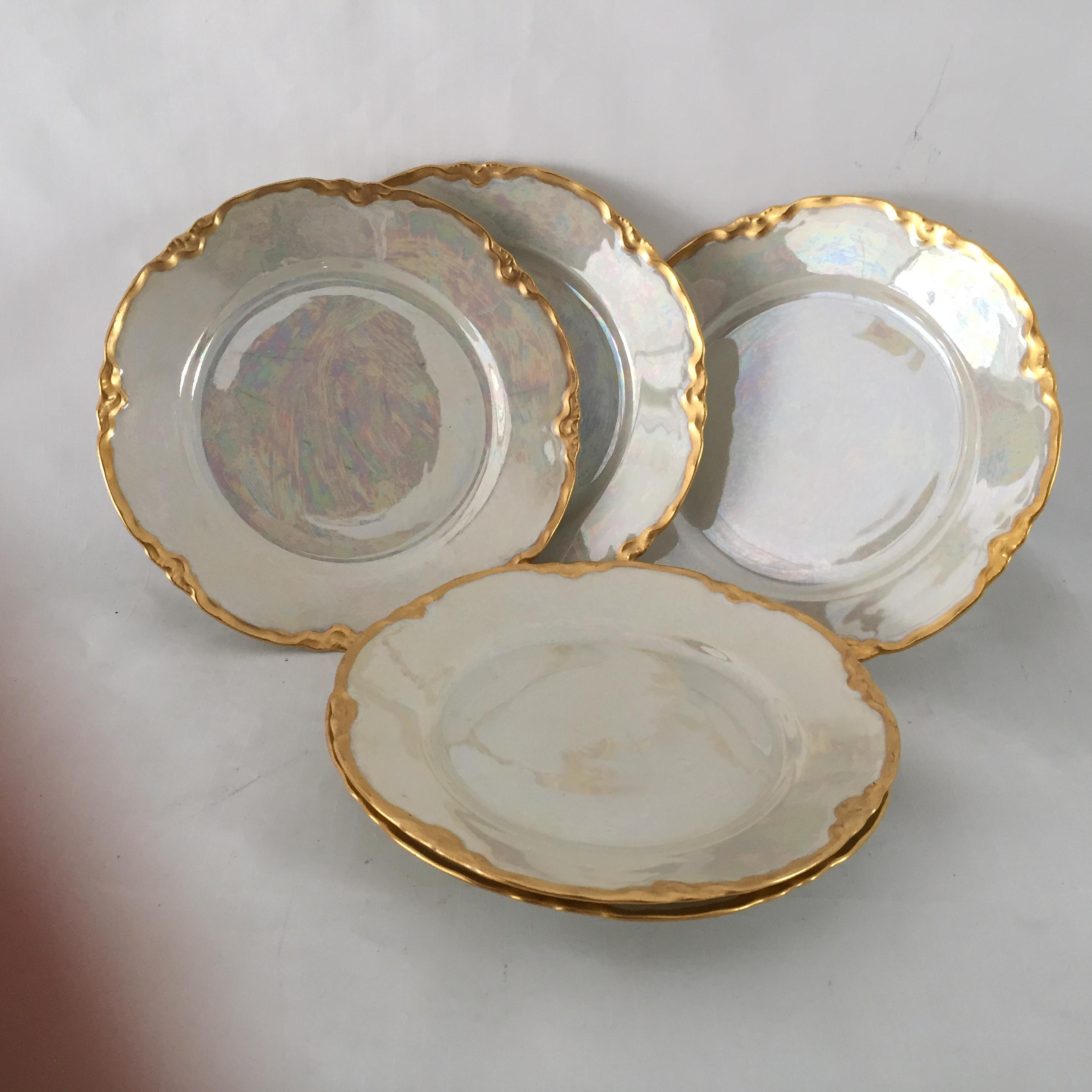 Hutscheneruther French Style Lusterware Pearl White/Gilt Rim Bread Plates - Set of 5 - : french style dinnerware - pezcame.com