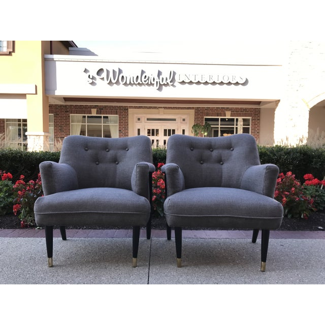 Gray Mid Century Modern Vintage Gray Tweed Dunbar Era Occasional Club Chairs- a Pair MCM For Sale - Image 8 of 8