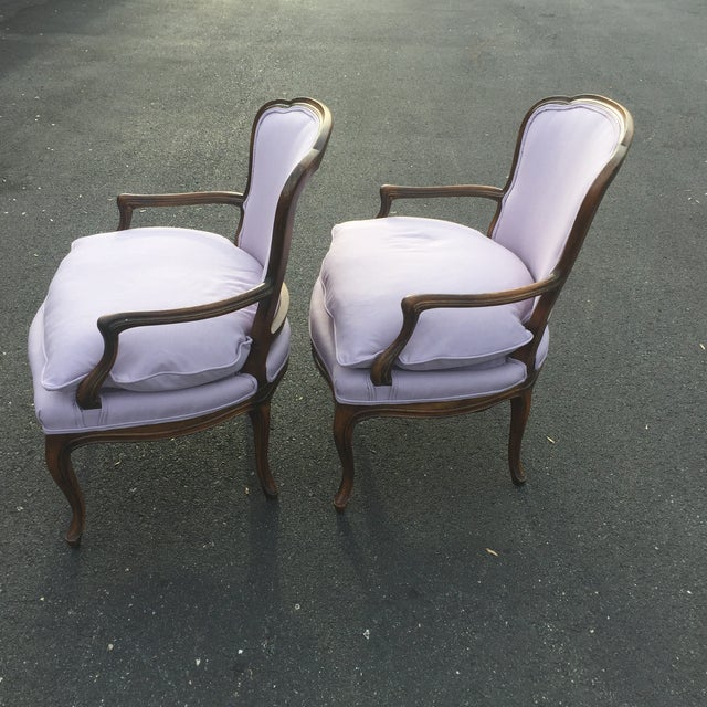Vintage French Louis XVI Fauteuil Bergere Chairs - A Pair For Sale - Image 4 of 9