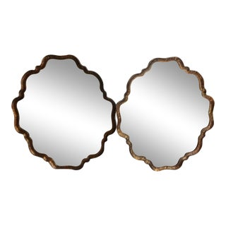 Burnished Metal Framed Wall Mirrors - A Pair For Sale
