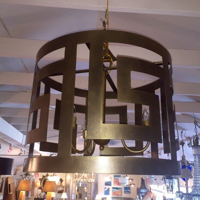 Pair of very large and impressive custom designed chandaliers in a classic Greek key design. Antiqued bronze finish. Takes...