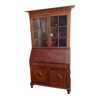 18th Century Early American Secretary Desk With Bookcase For Sale