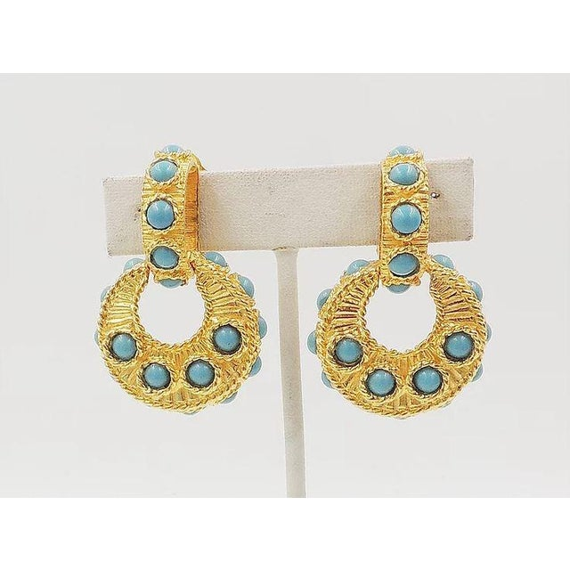 Mimi DI N Cabochon Faux-Turquoise Hoop Earrings For Sale - Image 4 of 8