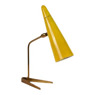1950s Stilux Milano Yellow Conical Table Lamp For Sale