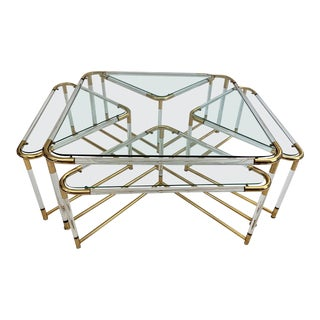 Lucite and Gold Metal Coffee Table & Nesting Tables - 5 Pieces For Sale