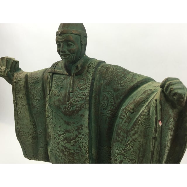 Asian Vintage Bronze Chinese Emperor Statue For Sale - Image 3 of 5