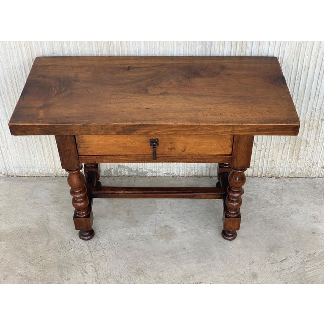 Side Table Wit.Spanish 1890s Walnut Side Table Single Drawer Wit Turned