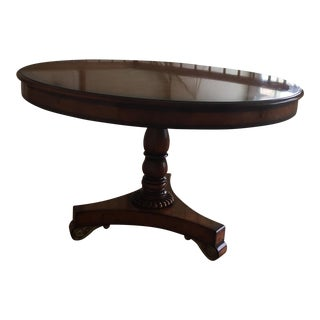 Burlwood Veneer Round Table With Marquetry