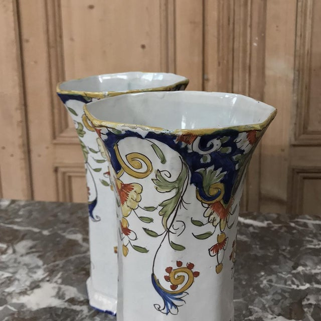Late 19th Century Pair 19th Century French Colorful Hand-Painted Faience Vases From Normandy For Sale - Image 5 of 12