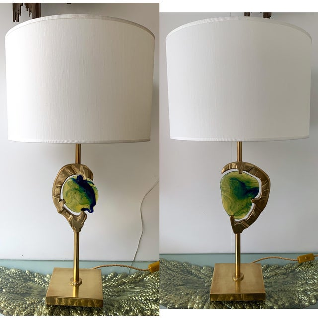 Brass Murano Glass Lamps by Esperia Italy, 1990s - a Pair For Sale - Image 12 of 12