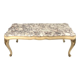 Midcentury Louis XV Style Coffee Table With Marble Top For Sale
