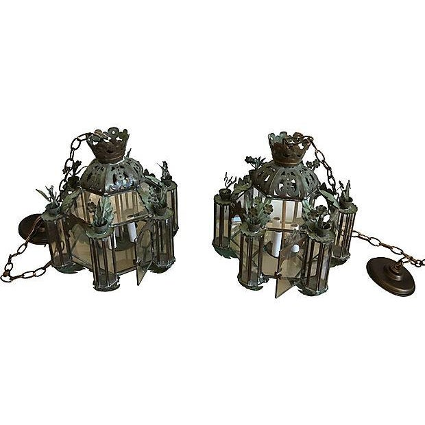 Mid-Century Moroccan Lantern Pendants - A Pair - Image 5 of 7