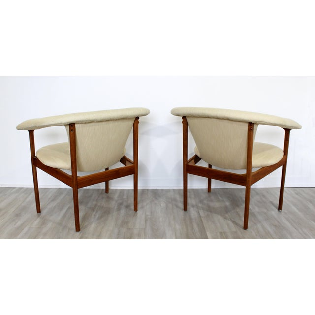 Cream Mid Century Modern Adrian Pearsall Wood Lounge Armchairs - a Pair For Sale - Image 8 of 9