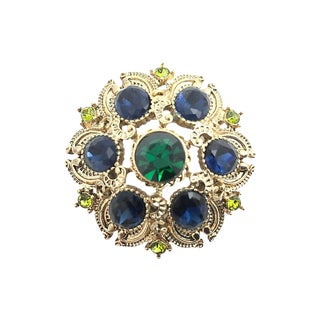 Blue & Green Rhinestone Gold Tone Brooch For Sale