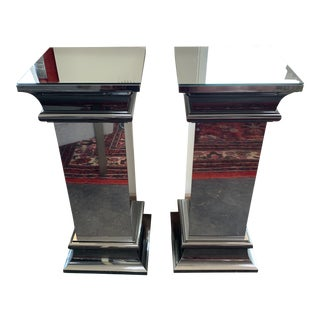 Ello Furniture Mirrored Pedestal Stands - A Pair For Sale