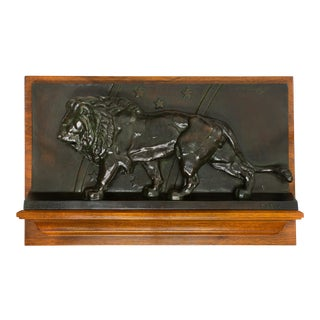 """French Antique Bronze Sculpture Bas-Relief """"Lion of the Zodiac"""" by Antoine-Louis Barye For Sale"""