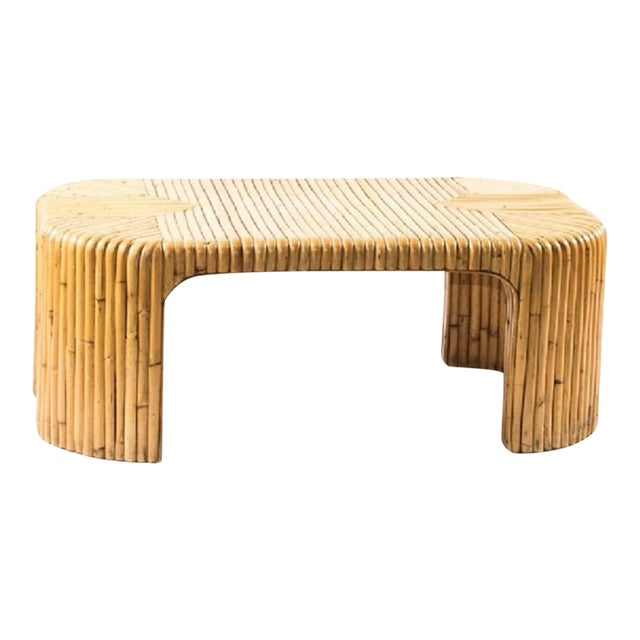 1960s Italian Midcentury Bamboo Coffee Table For Sale