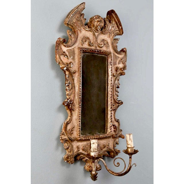 Late 19th Century 19th Century Italian Sconces With Carved Mirror and Gilt Gesso Frames - A Pair For Sale - Image 5 of 7