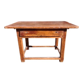 Rustic French Fruitwood Table With Stretchers For Sale