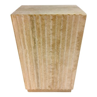 Vertical Cut Travertine Pedestal For Sale