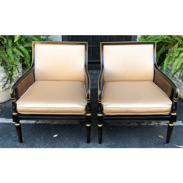 Hollywood Regency Hollywood Recency Black & Gold Cane Arm Low Club Chairs - a Pair For Sale - Image 3 of 7