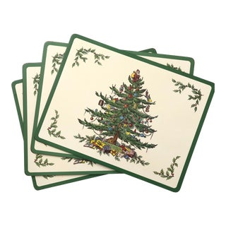 Vintage Spode Christmas Tree Place Mats by Pimpernel - Set of 4 For Sale