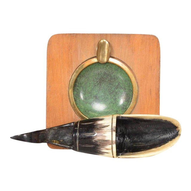Richard Rohac Horn Pipe Holder-Stand With Brass Ashtray, Austria, 1950s For Sale