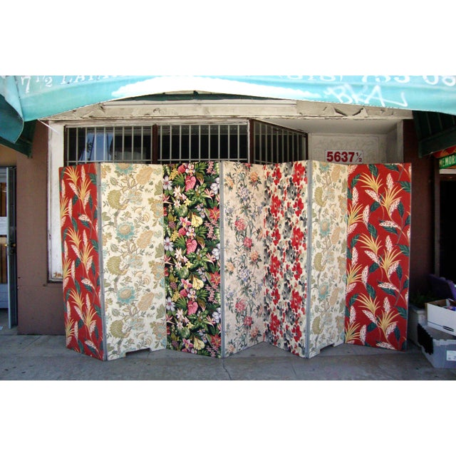 Beautiful Custom made floral fabric room divider. one side are made of different colorful floral design and another one is...