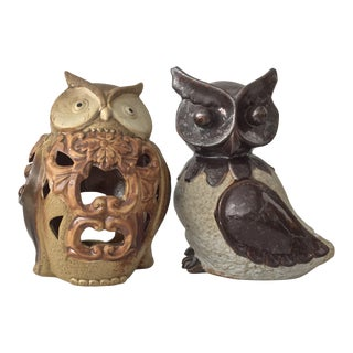 Mid-Century Ceramic Owl Diffusers - A Pair For Sale
