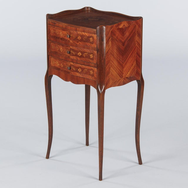 20th Century Louis XV Marquetry Bedside Chest of Drawers For Sale - Image 13 of 13