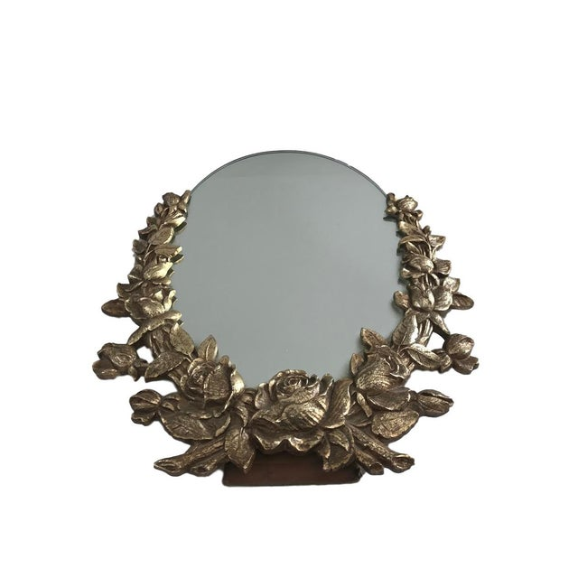 Vintage Brass Floral Mirror - Image 3 of 6