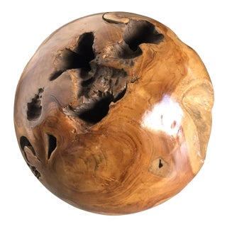 Contemporary Hand Carved Wooden Sphere For Sale
