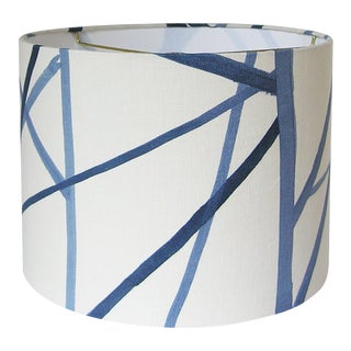 Blue Channels Drum Lamp Shade 14x11 For Sale