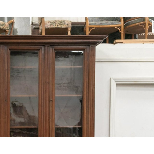 Wood 19th Century French Napoleon III Period Walnut Bibliotheque or Bookcase For Sale - Image 7 of 12