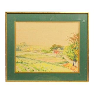 Late 20th Century Rural Landscape Watercolor Painting, Framed For Sale