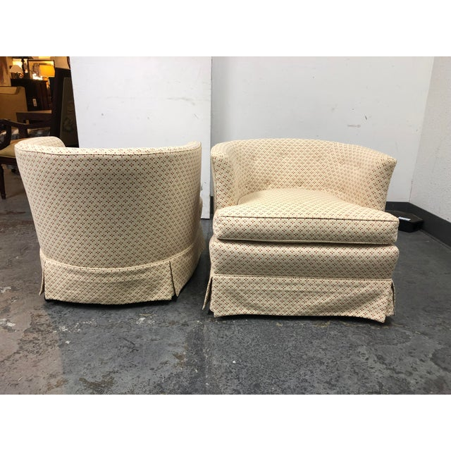 Mid 20th Century Henredon 1960's Roller Club Barrel Chairs - a Pair For Sale - Image 5 of 11
