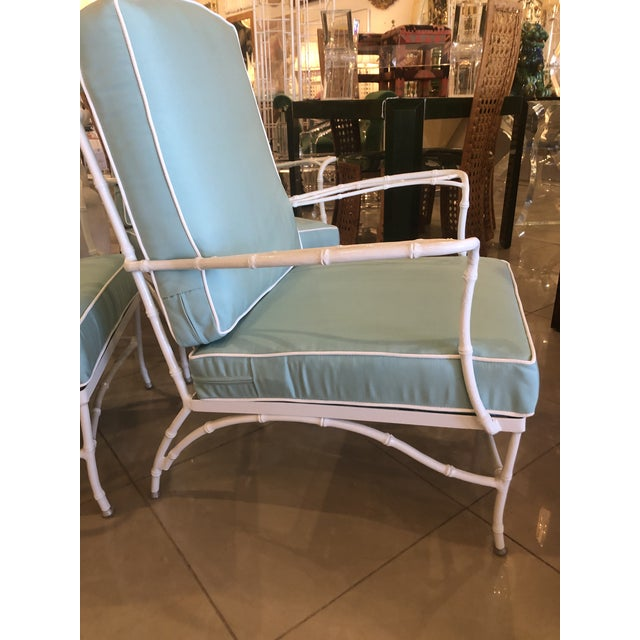 1970s Vintage Sunbrella Faux Bamboo Powder-Coated Metal Lounge Patio Chairs - Set of 3 For Sale - Image 5 of 13