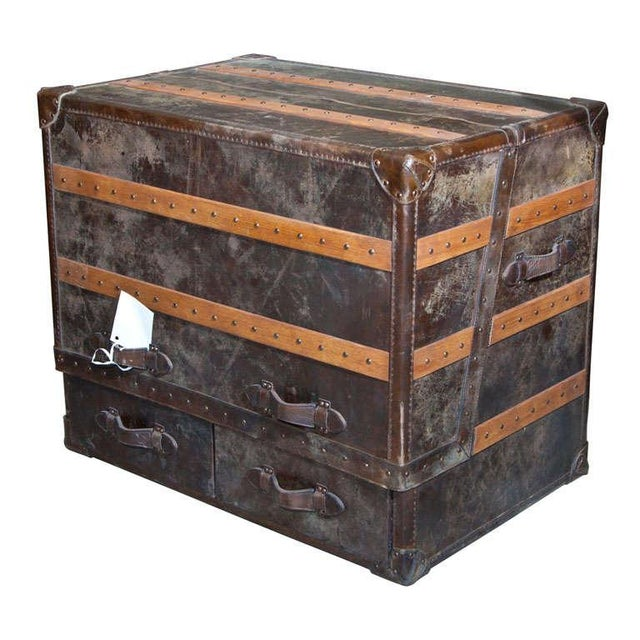 Leather and Cowhide Trunk Desk For Sale