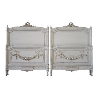 20th Century Carved Painted Louis XVI Style French Rose Swag Beds - a Pair For Sale