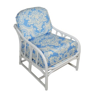 Ficks Reed White Rattan Lounge Chair For Sale