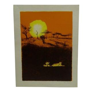 """Sun Lit Lions"" Signed Print For Sale"