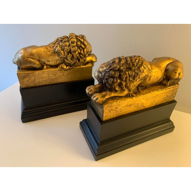 """Gold Vintage Gilt """"Borghese"""" Lion Bookends - a Pair For Sale - Image 8 of 11"""
